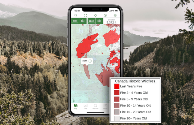 one example of the canada historical wildfires overlay and corresponding map legend