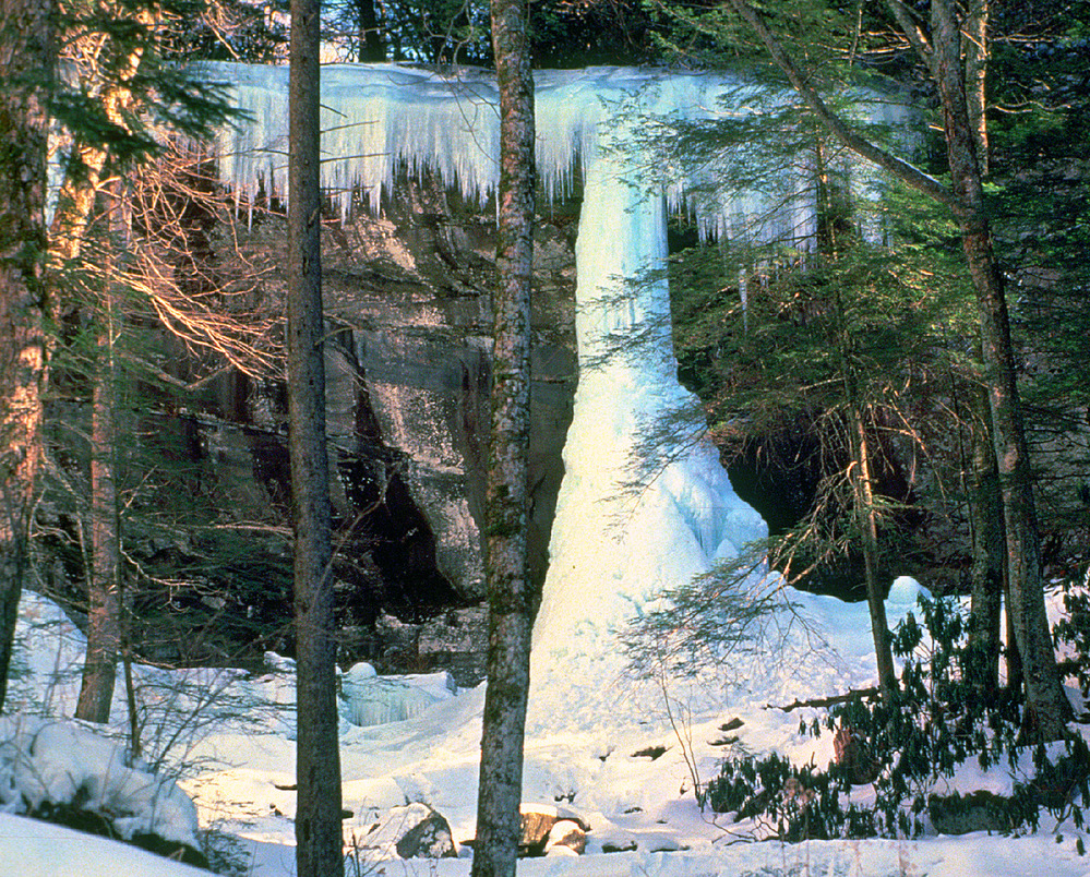 A frozen waterfall creates an ice column in the forest of Smoky Mountain National Park.