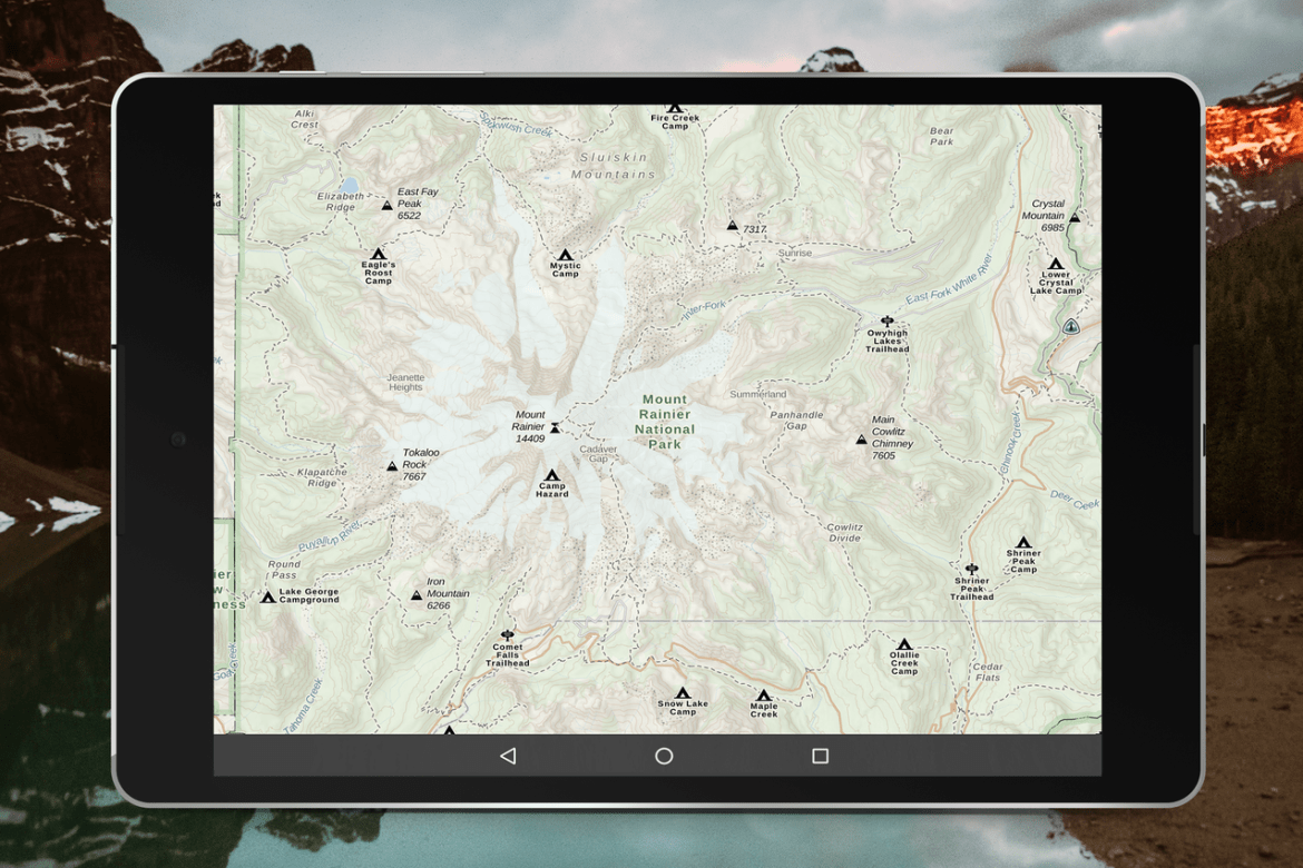 tablet featuring new Gaia GPS map