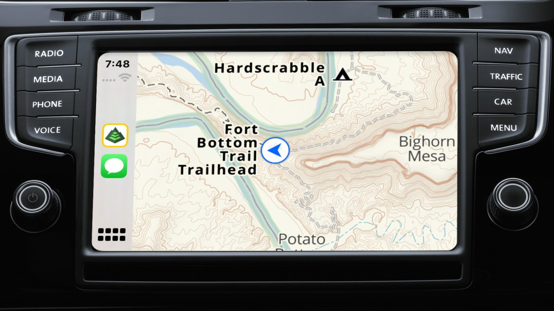 Dashboard navigation screen displaying the Gaia Topo map.