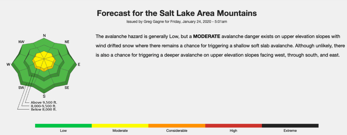 Example of a danger rose for the Salt Lake Area Mountains