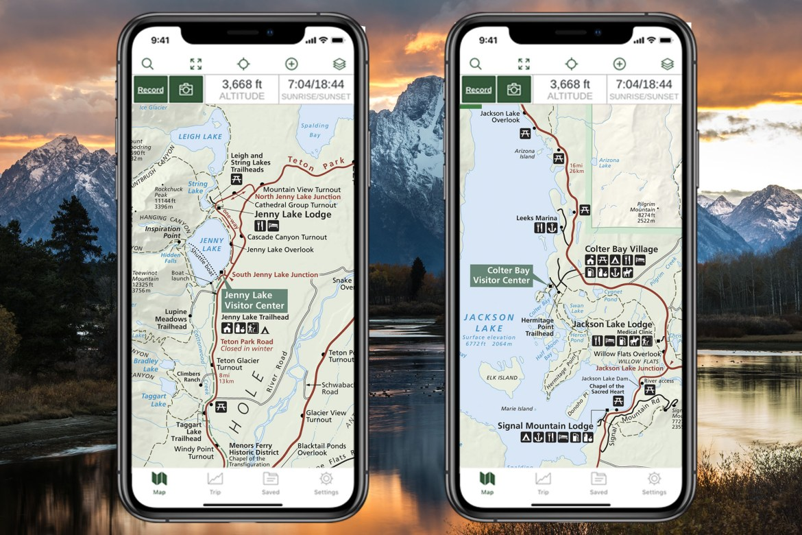Two iPhones displaying NPS Visitor map of Grand Teton National Park