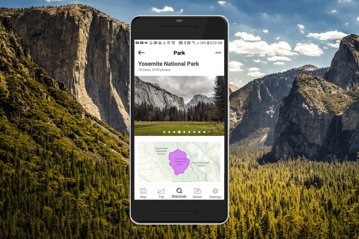 Android display of Yosemite National Park on Gaia GPS