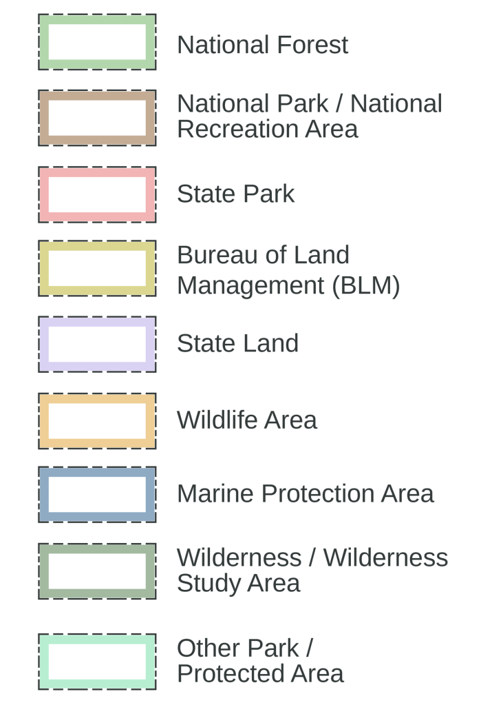 Map legend for Gaia Topo showing color-coded public lands