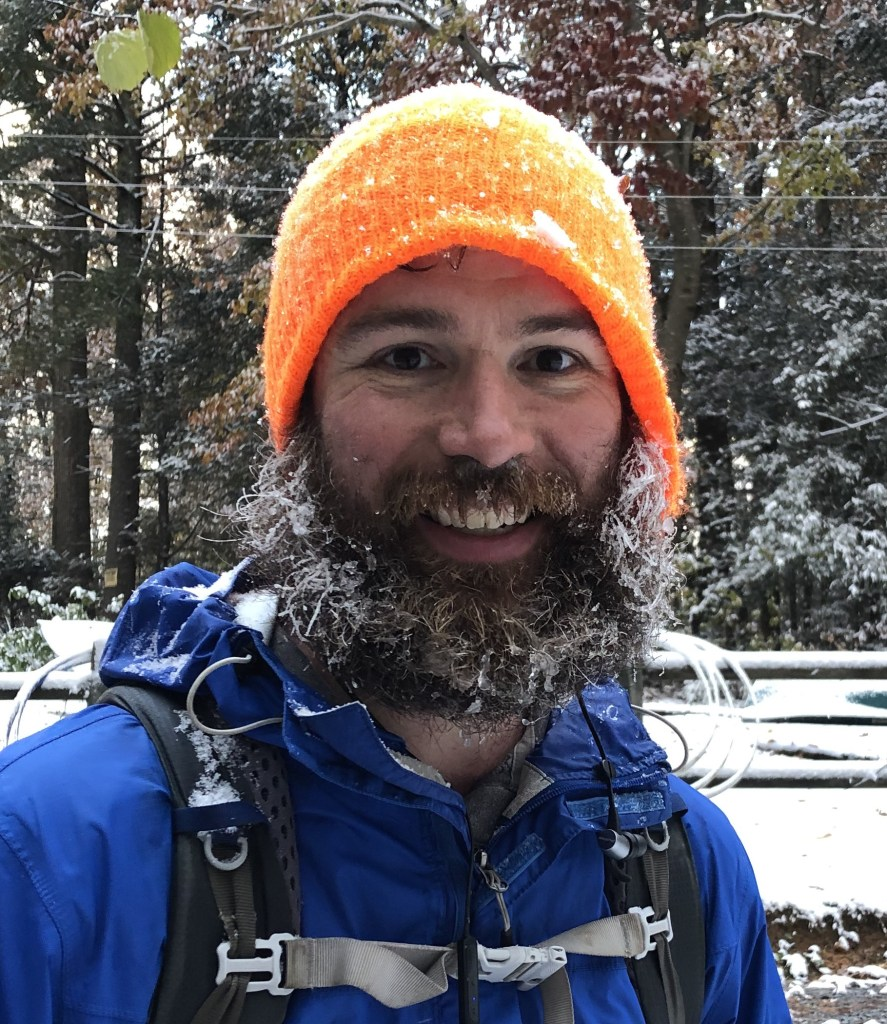 Out and Back podcast host Andrew Baldwin with a frosty beard on the Appalachian Trail.