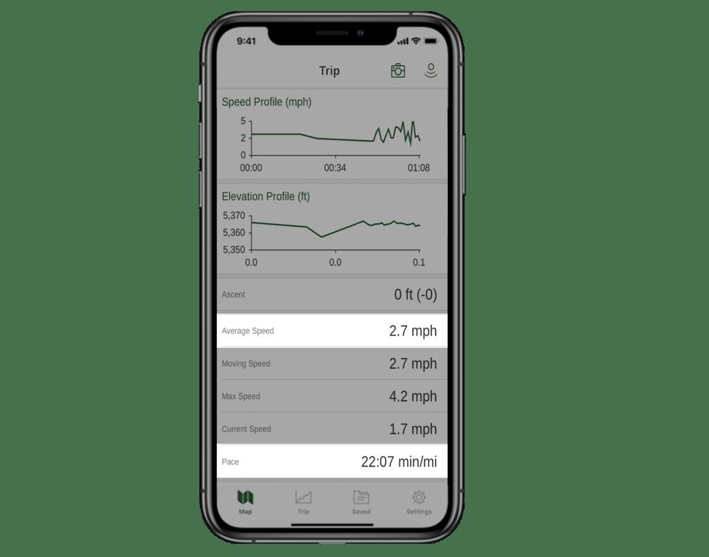 A screenshot of the trip screen in the Gaia GPS app