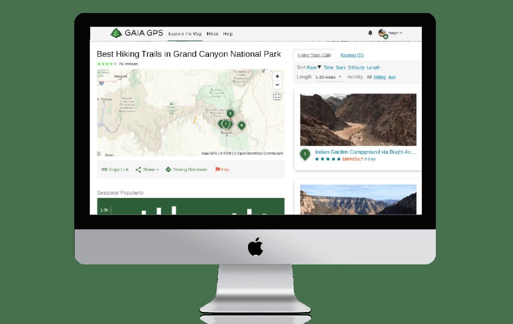 Hike search on gaiagps.com