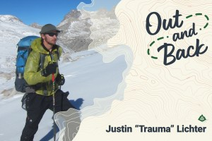 The Out and Back podcast logo is superimposed over a photo of Justin Lichter backcountry skiing.
