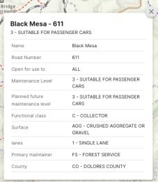 pop up description of trail usage regulations for Black Mesa - 661