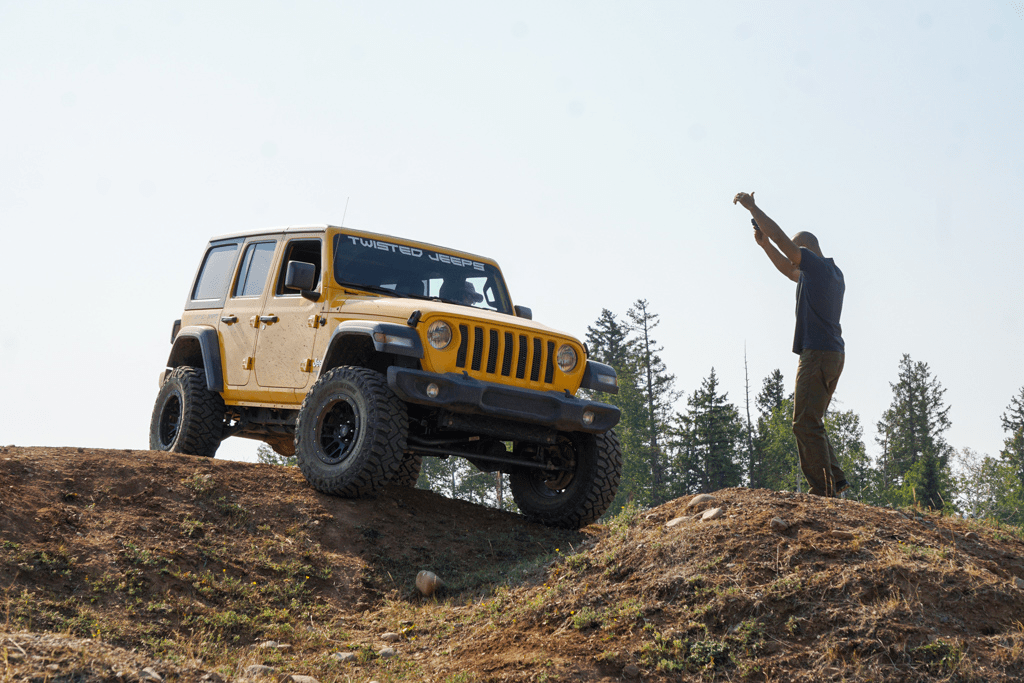 Jeep practicing offroading in a park