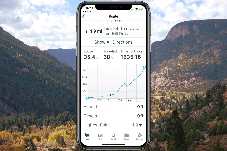 elevation profile on iPhone