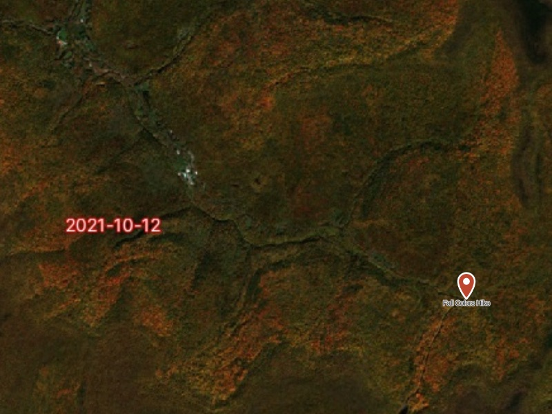 Gaia GPS' Fresh Sat - Recent map layer showing fall colors in the foliage and a newly created waypoint