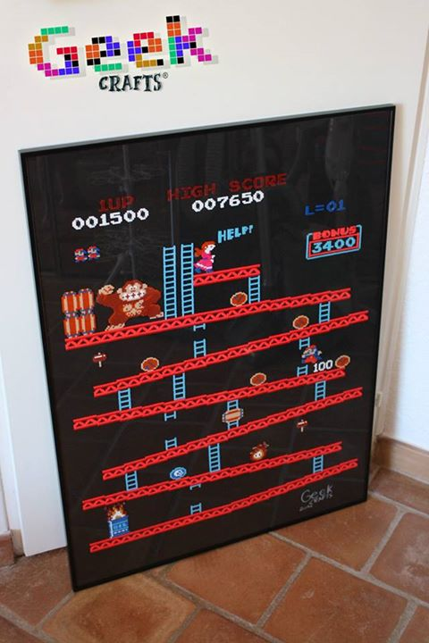 bead sprite Geek Crafts cadre Donkey Kong