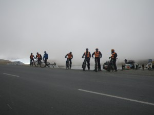 Atop a mountain on a misty day, preparing to take the plunge!