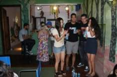Gap year travellers socialising in hostel