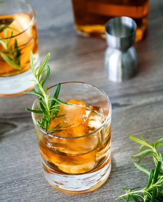 Old Fashioned Cocktail with Rosemary and Cinnamon Simple Syrup