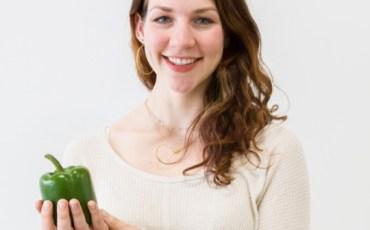 Meghan Holding an Organic Bell Pepper