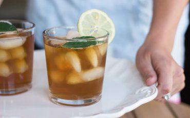 iced tea with lemon and herbs