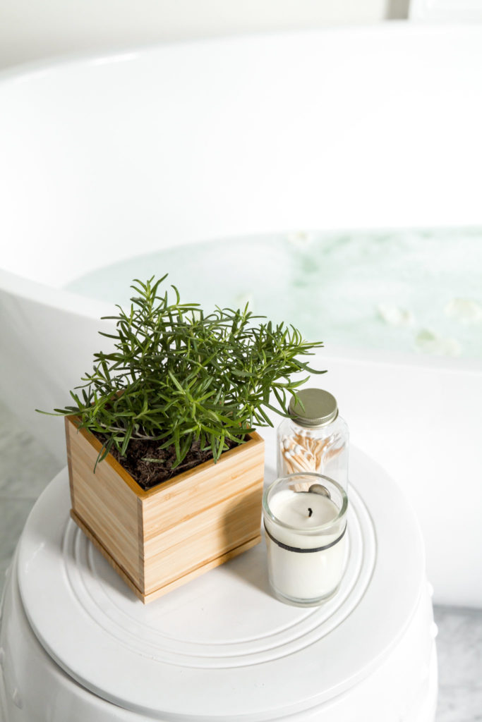 decorating with indoor herbs by tub