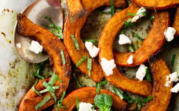 Roasted Pumpkin Fries with herbs