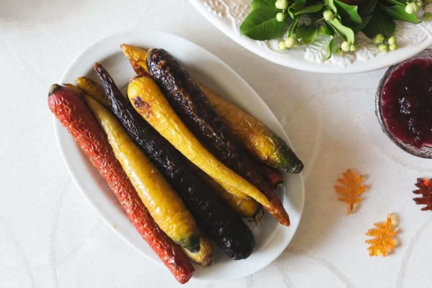 vegan thanksgiving roasted rainbow carrots