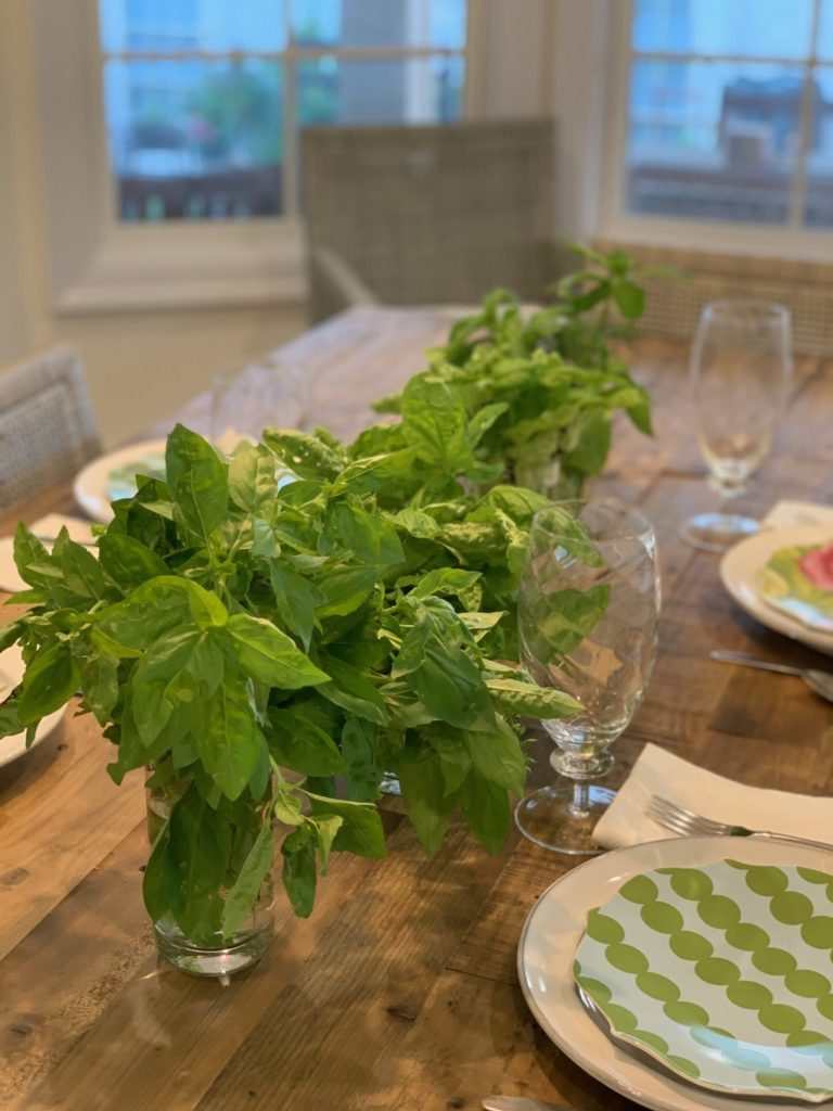 Decorating with Herbs at the table