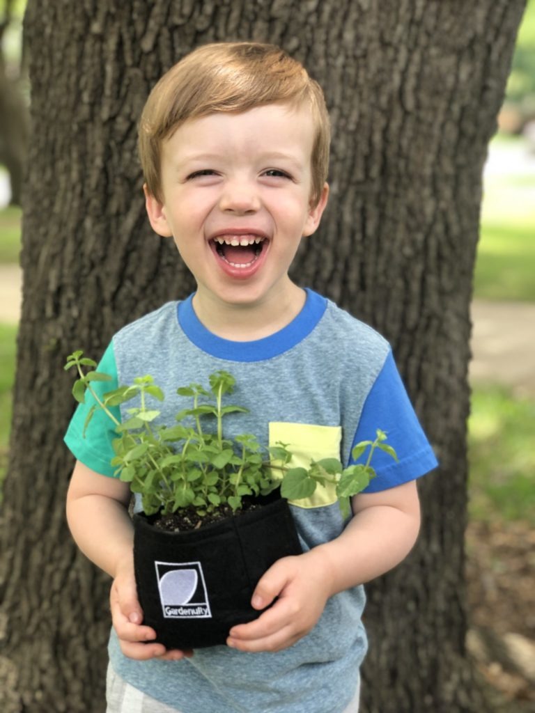 child holding mini garden