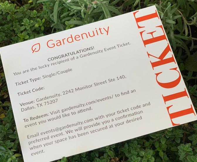 Gardenuity Event Ticket