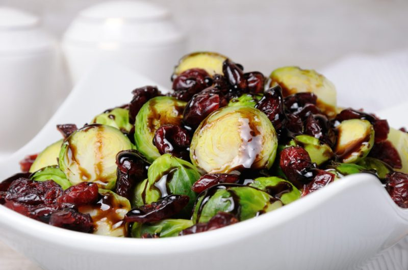 Brussels Sprouts with Cranberries and Candied Jalapeños