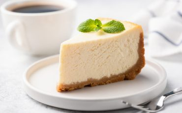 Eggnog Cheesecake with Fresh Mint