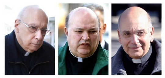 This combination of file photos shows Giles Schinelli, left, Anthony Criscitelli, center, and Robert D'Aversa, when they were arraigned on charges of child endangerment and criminal conspiracy at a district magistrate in Hollidaysburg, Pa.