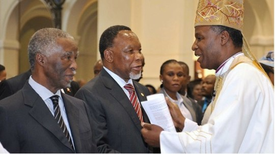 Archbishop of the Anglican Church Thabo Makgoba (right) with former South African presidents Kgalema Motlanthe and Thabo Mbeki in 2013.