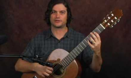 Nylon string classical finger picked guitar lesson on moveable major scale fingerstyle