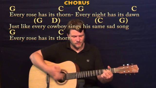 Every Rose Has Its Thorn (Poison) Strum Guitar Cover Lesson with ...