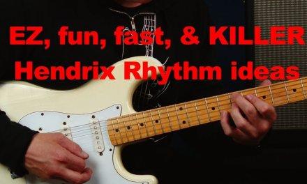 EZ and fun Jimi Hendrix inspired blues rock Rhythm ideas riffs licks scales
