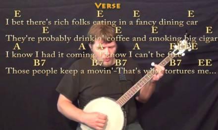 Folsom Prison Blues (JOHNNY CASH) Banjo Cover Lesson with Chords/Lyrics