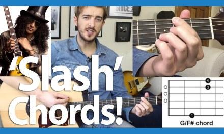 Easy Slash Chords G/F#  G/B  C/B  D/F#  Guitar Tutorial (Beginners Course Level 6 02)