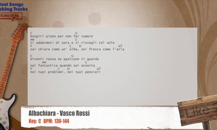Albachiara – Vasco Rossi Guitar Backing Track with chords and lyrics