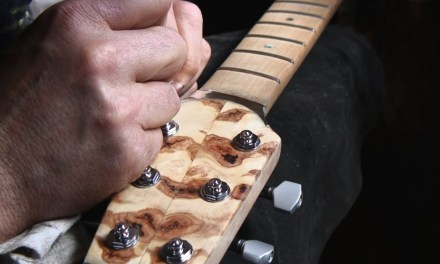 Fanned fret guitar building  #1 – Guitar headstocks inlayed with silver and a bone nut.