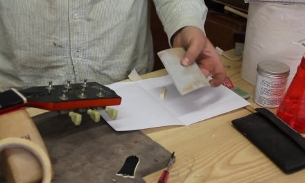 Gibson Chet Atkins repair pt1 fixing nut slots with dust & glue