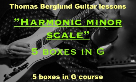 Harmonic minor scale – 5 boxes in G – Guitar lessons