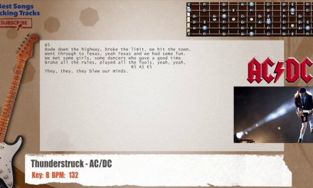 Thunderstruck – AC/DC Guitar Backing Track with chords and lyrics