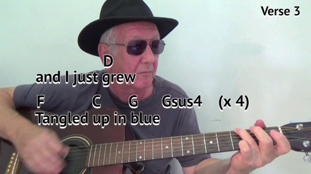 Tangled Up In Blue (G) – Bob Dylan cover – easy chord guitar lesson ...