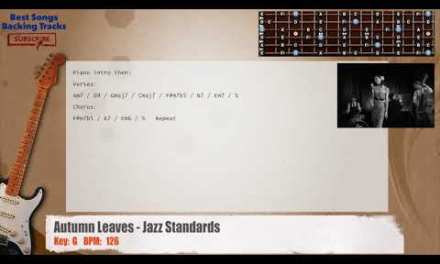 Autumn Leaves – Jazz Standards MELODY Guitar Backing Track with chords and lyrics