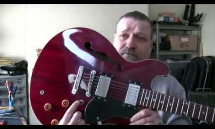 Aria TA40-WR 'Gibson 335' type guitar set-up…
