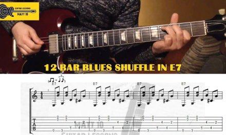Blues Shuffle Rhythm GUITAR LESSON with TAB – Twelve Bar Blues & Sixths Intervals