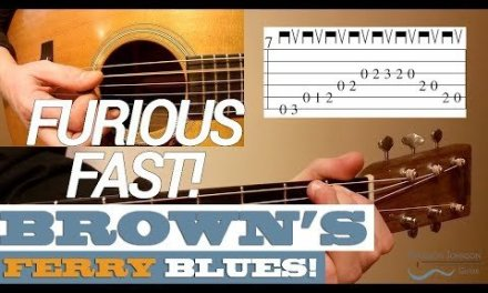 "FURIOUS Fast (140 BPM)! ""Brown's Ferry Blues"" Guitar Lesson with TAB"