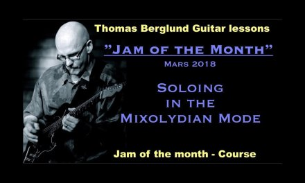 Jam of the month  – Mixolydian mode w. transcribed lines, back track & tips – Guitar lesson