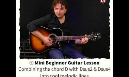 Mini Beginner Guitar Lesson  –  Combining the chord D with Dsus2 & Dsus4 into cool melodic lines
