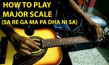 HOW TO PLAY MAJOR SCALE (SA RE GA MA PA DHA NI SA)   HAWAIIAN GUITAR TUTORIAL